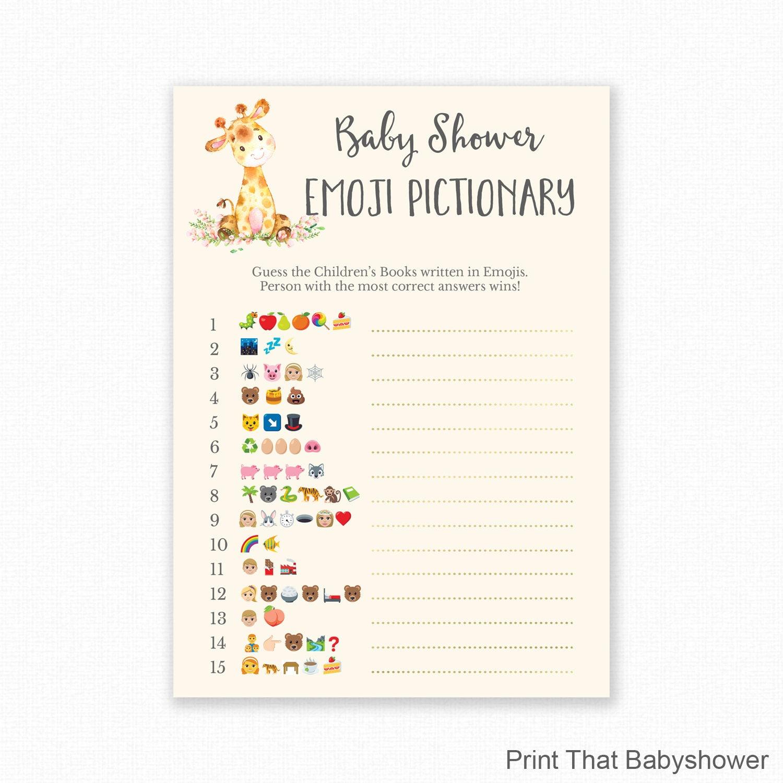 Baby Shower Games Giraffe Baby Shower Emoji Pictionary Etsy