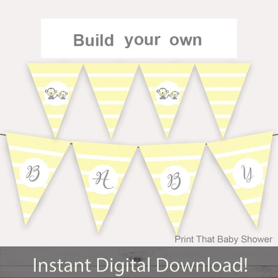 photograph regarding Printable Baby Shower Decorations identified as Youngster Shower Decorations - Yellow Monkey Kid Shower Banner