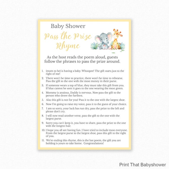 photo relating to Pass the Prize Baby Shower Game Free Printable named Youngster Shower Match - Jungle Youngster Shower - P the Parcel Rhyme - Remaining and Straight Match - Printable, Youngster Shower P the prize recreation, Jungle