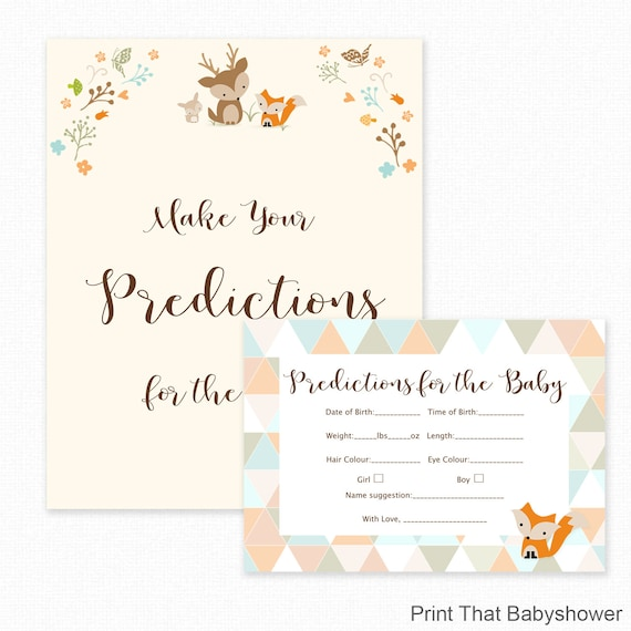 Baby Shower Games - Baby Predictions Game - Baby Predictiction Card