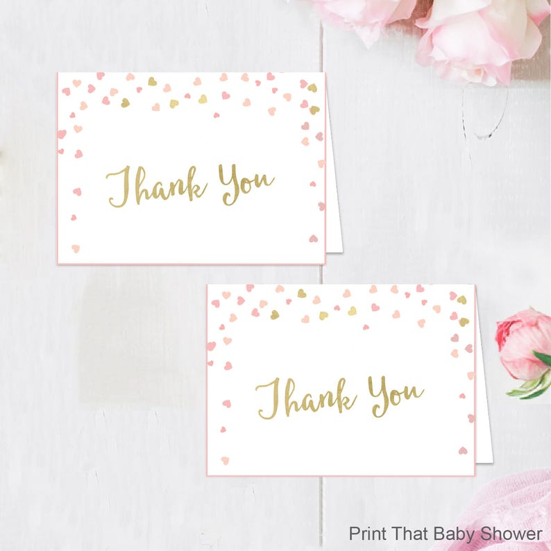 Printable Babyshower Thank You Card Printable Instant Etsy