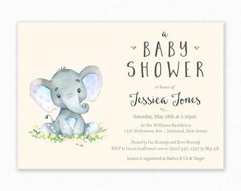 Elephant Baby Shower Invitations - Elephant Baby Shower - Printable Invitation - Elephant Baby Shower Invites - Blue Elephant Invitation