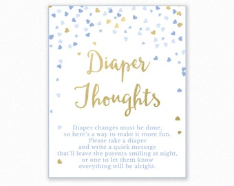 Baby Shower Game - Diaper Thoughts - Boy Baby Shower - Nappy Thoughts - Write on Diaper Message Game, Printable Baby Shower, Diaper Game