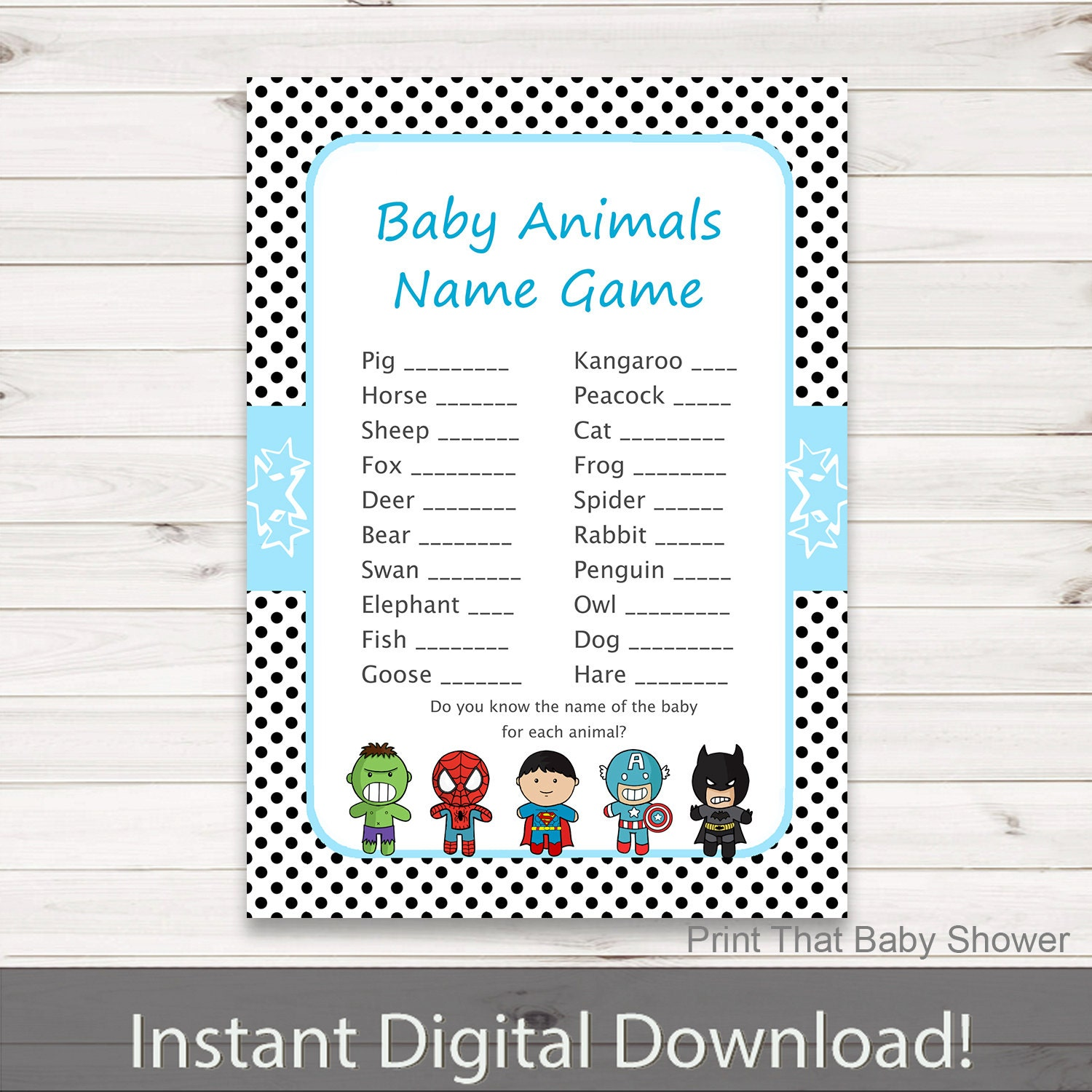 Italian Boy Name: Baby Shower Games Baby Animals Name Game Superhero Baby