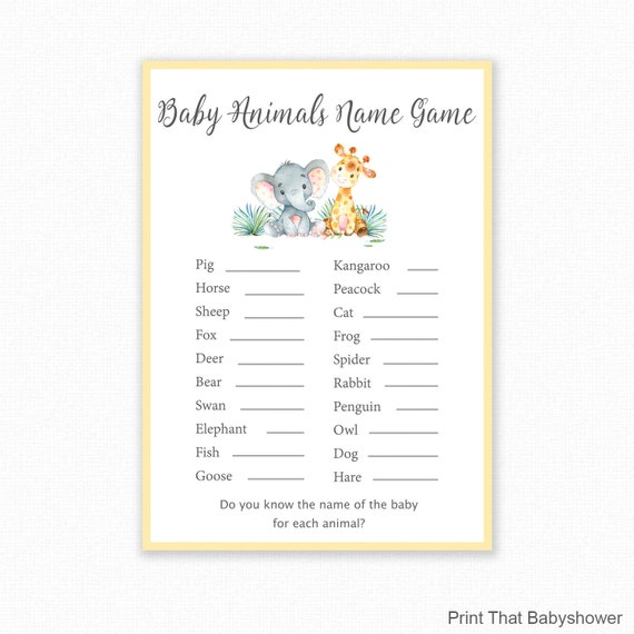 Baby Shower Games Baby Animals Name Game Jungle Theme Baby