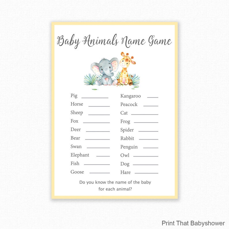 Baby Shower Games Baby Animals Name Game Jungle Theme Baby Etsy