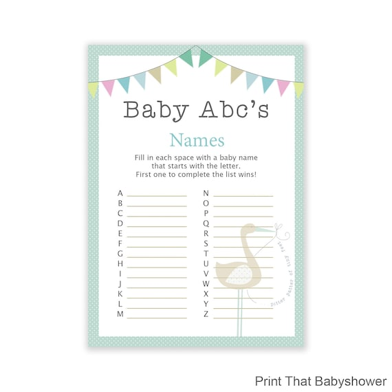Baby Shower Games Baby Name Abc Game Blue Stork Baby Etsy
