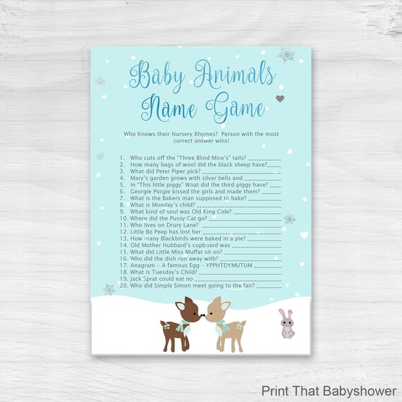 Baby Shower Games Nursery Rhyme Quiz Game Woodland Baby Shower