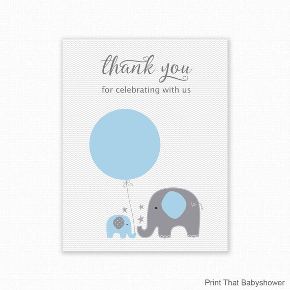 graphic about Free Printable Baby Shower Thank You Tags titled EOS Lip Balm Want Holder - Blue Elephant Boy or girl Shower