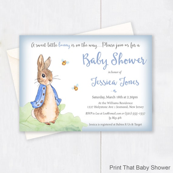 Peter Rabbit Baby Shower Invitation Peter Rabbit Invitation