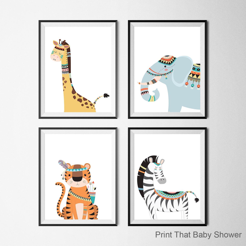 Guardería de animales tribales imprimir Set de 4 arte de | Etsy