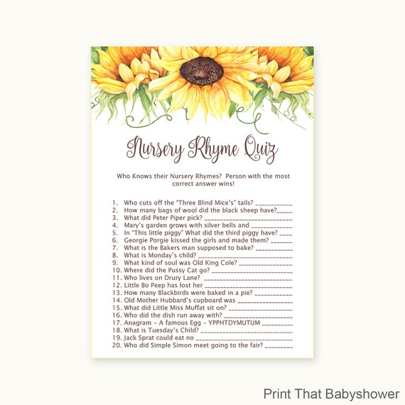 Baby Shower Games Nursery Rhyme Quiz Game Fall Baby Shower Etsy