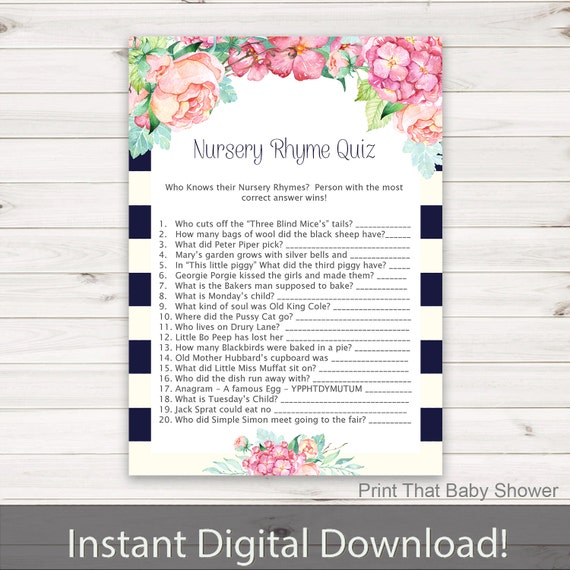 Baby Shower Games Nursery Rhyme Quiz Game Floral Baby Etsy