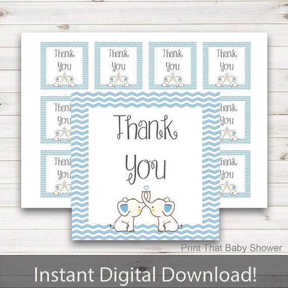 12 Thank You Cards with Blue Elephant Tag