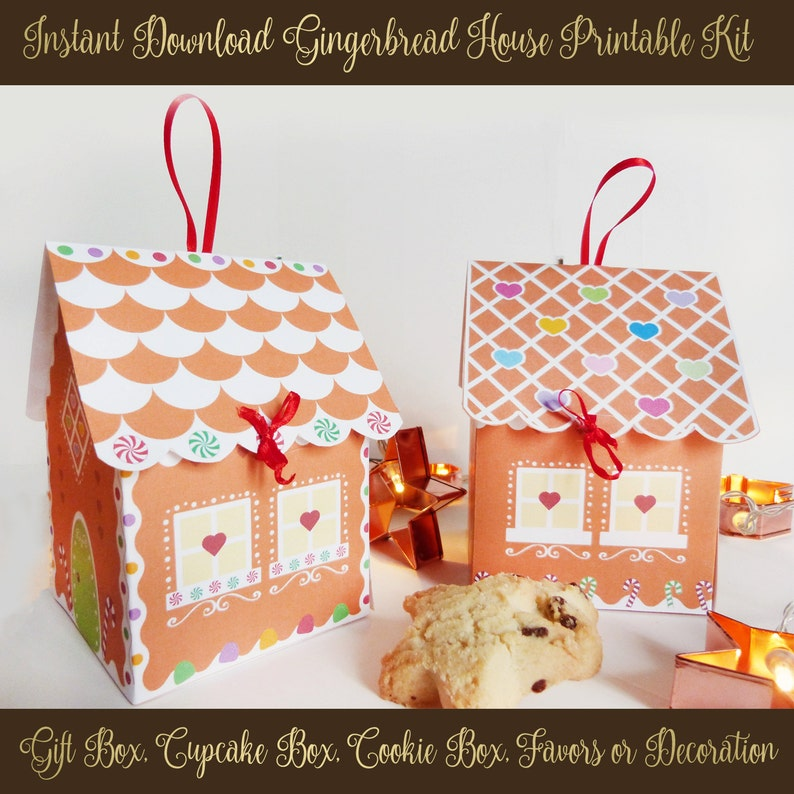 graphic about Printable Gingerbread House identify Printable Gingerbread Place Package - Xmas Cupcake holder - Cookie box - Social gathering favors - Xmas Items and Snacks - 2 Patterns