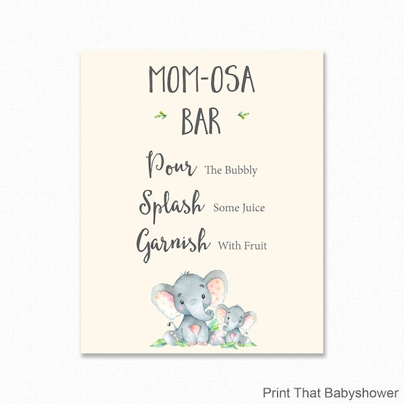 image relating to Mimosa Bar Sign Printable called Elephant Mimosa Bar Indication - Boy or girl Shower Mimosa Bar Indication