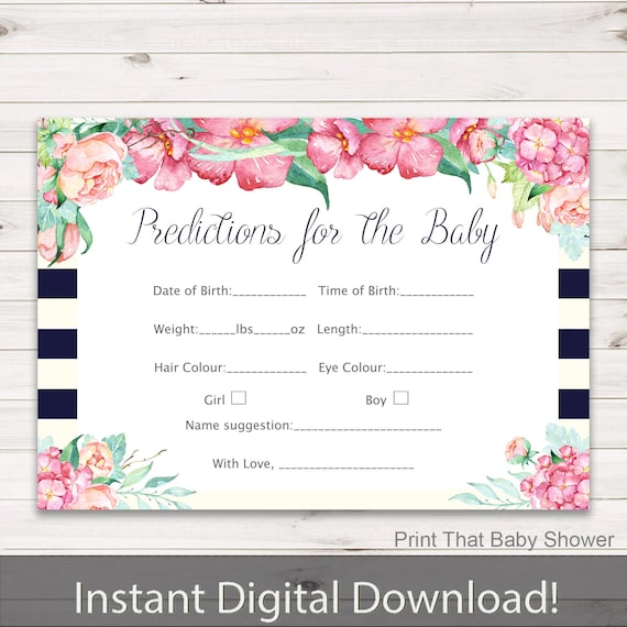 Floral Baby Shower Games Bundle Instant Download Baby Predictions Cards Dear Baby Advice for Mommy Watercolor Flowers Garden Baby Shower LF1