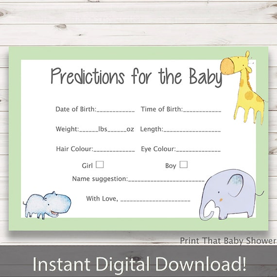 Baby Shower Games - Baby Predictions Game - Baby Prediction