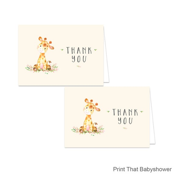 photo about Printable Baby Shower Thank You Cards identified as Printable Giraffe Thank By yourself Card - Printable Prompt