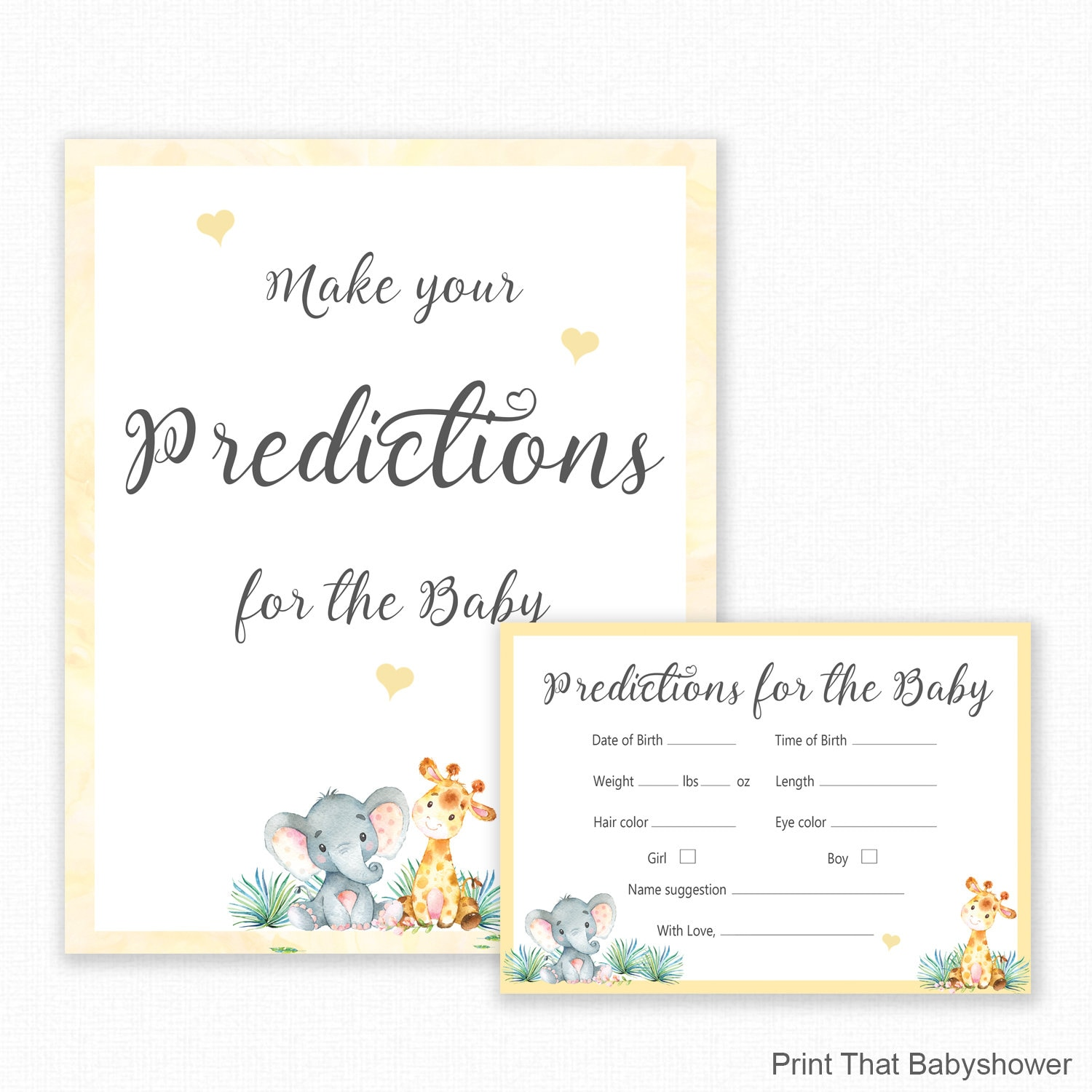 Personalised Prediction Cards PINK BABY GIRL DESIGN BABY SHOWER GAMES
