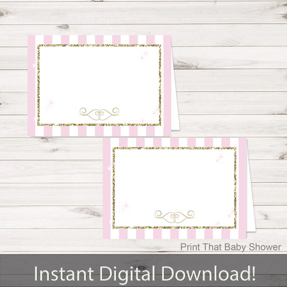 baby shower food tent labels pink and gold baby shower printable