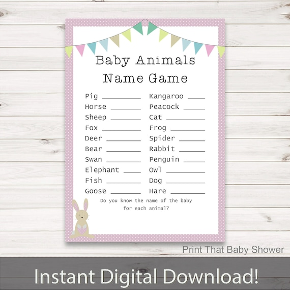 Baby Shower Game Name The Baby Animal: Baby Shower Games Baby Animals Name Game Pink Bunny Baby