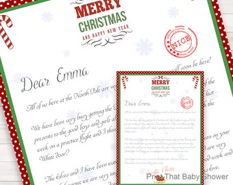 Personalized Letter from Santa Christmas Letter Printable Download Customizable Name Dotty