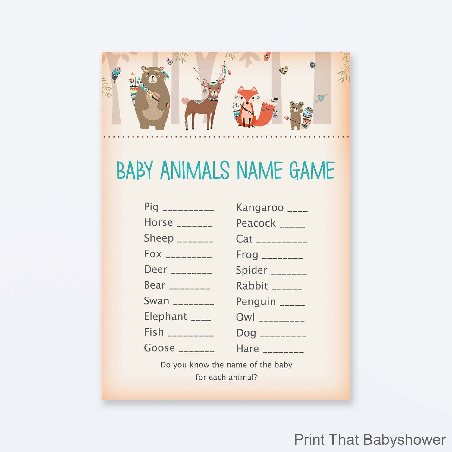 Baby Shower Games Baby Animals Name Game Woodland Baby Etsy