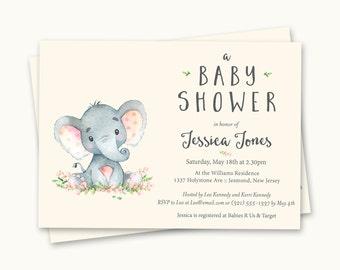 Elephant Baby Shower Invitations - Elephant Baby Shower - Printable Invitation - Elephant Baby Shower Invites - Elephant Invitation