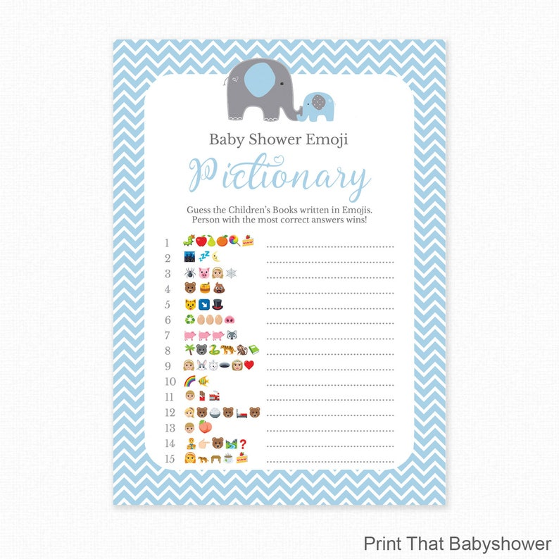 Baby Shower Game Blue Baby Shower Emoji Pictionary Blue Etsy