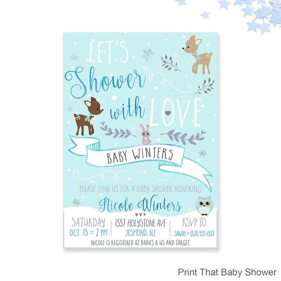 winter baby shower invitations woodland winter baby shower