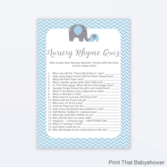 baby shower games nursery rhyme quiz game blue elephant baby