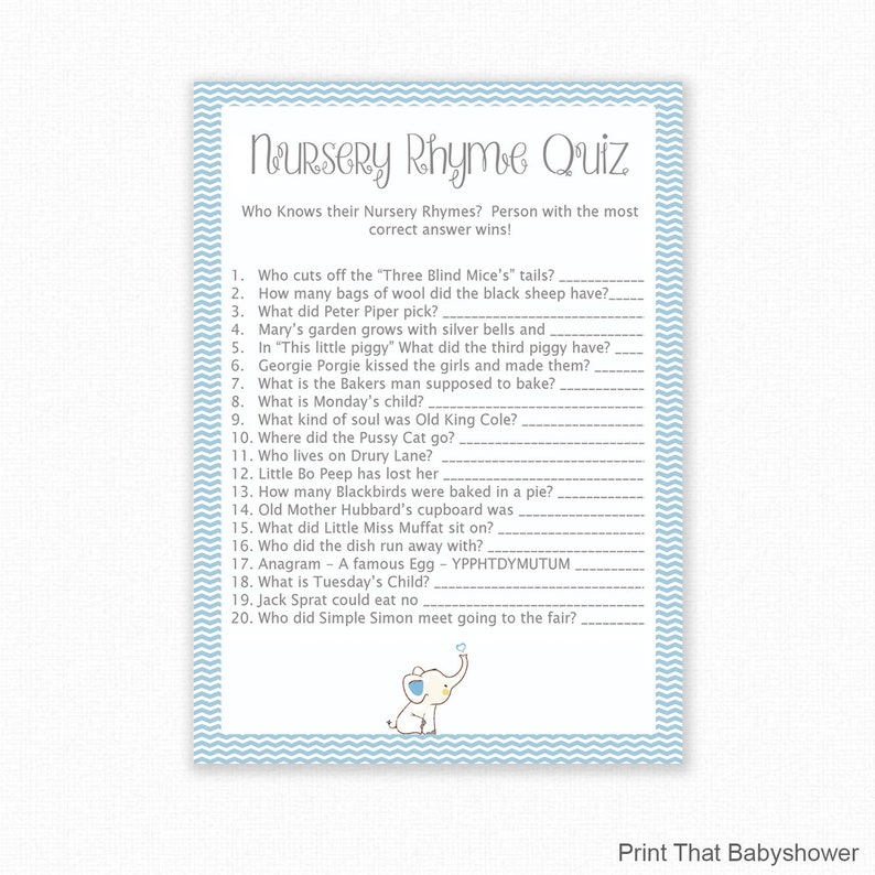 Baby Shower Games Nursery Rhyme Quiz Game Blue Elephant Etsy