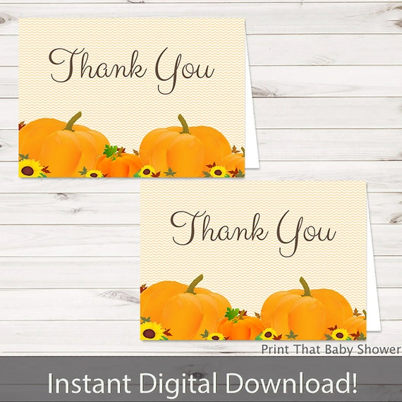Printable Pumpkin Thank You Card Printable Instant Download