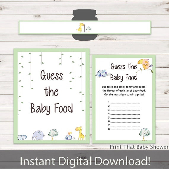 Baby Shower Games Guess The Baby Food Game Jungle Baby Etsy
