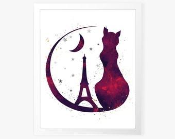 Paris Cat Wall Art Print - Wall Art - Printable Wall Art - Cat Art Print - Paris Cat Watercolor Art