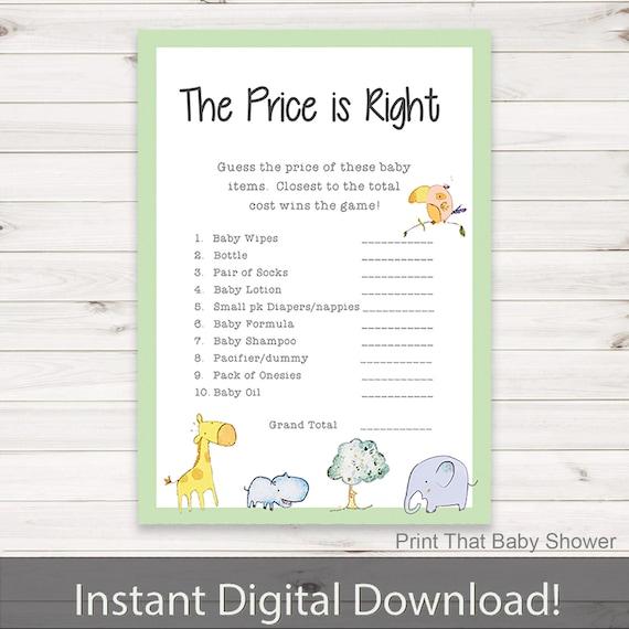 Safari Price Game Jungle Price Is Right Game Safari Price Is Right Game Printables 4 Less 0074 Jungle Price Game Safari Baby Game