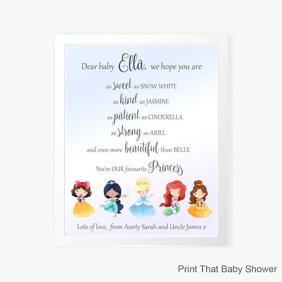 Disney Princess Personalised Name Print Nursery Kids Novelty Gift Wall
