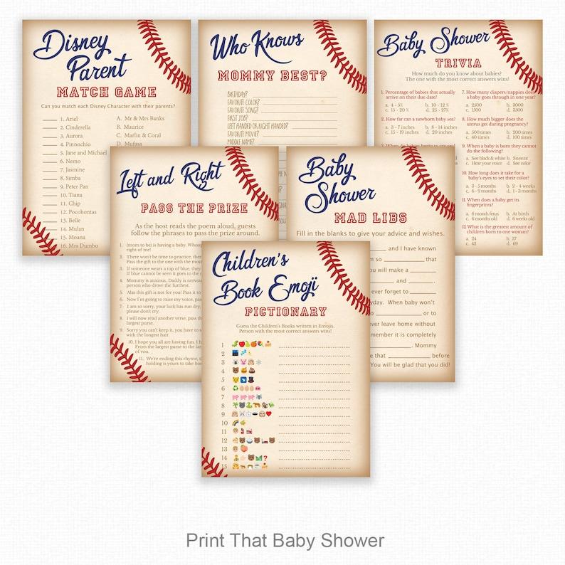 6 Games bundle Baby Shower Game Bundle Baseball Baby Shower Baby Shower Emoji Baseball Shower Games Baseball 02 Baby Shower Trivia