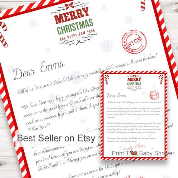 Personalized letter from santa christmas letter printable etsy image 0 spiritdancerdesigns Choice Image