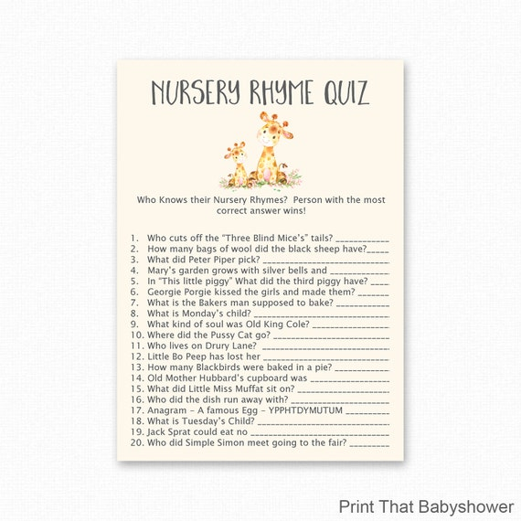 Giraffe Nursery Rhyme Quiz Game Baby Shower Games Giraffe Etsy