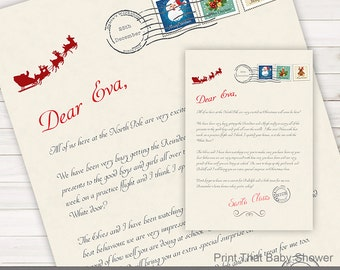 Personalized Letter from Santa Christmas Printable Download Customizable Name