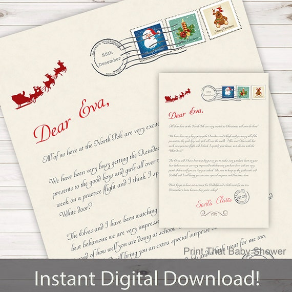 Personalized letter from santa christmas printable download etsy image 0 spiritdancerdesigns Choice Image