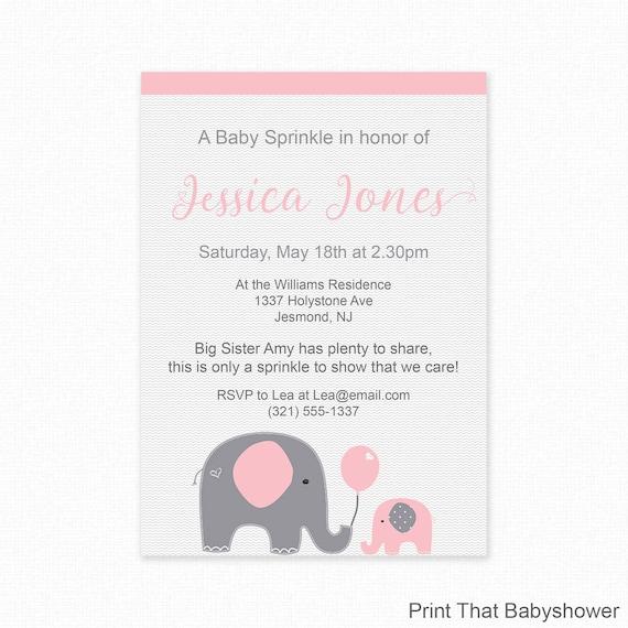 Pink Elephant Baby Sprinkle Invitations Pink Baby Sprinkle