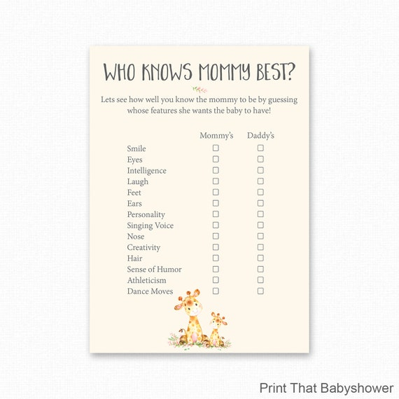 picture regarding Who Knows Mommy Best Printable identified as Giraffe Child Shower Who Is aware Mommy Most straightforward Printable - Giraffe