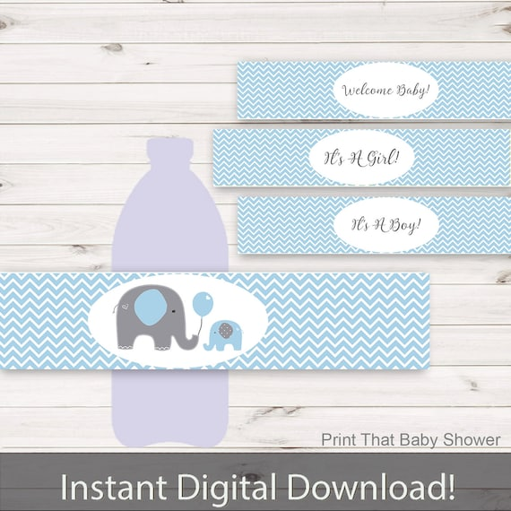 Baby Shower Water Bottle Labels Elephant Baby Shower Decorations Printable Water Bottle Labels Elephant Water Bottle Blue Elephant