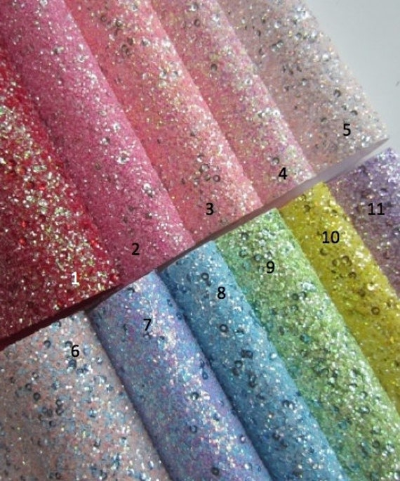 3 Sheets 8 x 12 Solid Color Chunky Glitter Faux Leather Fabric Sheets Thick Canvas Back For Bows Making Patchwork Sewing Each Color One Sheet Earrings Making Hair Accessories