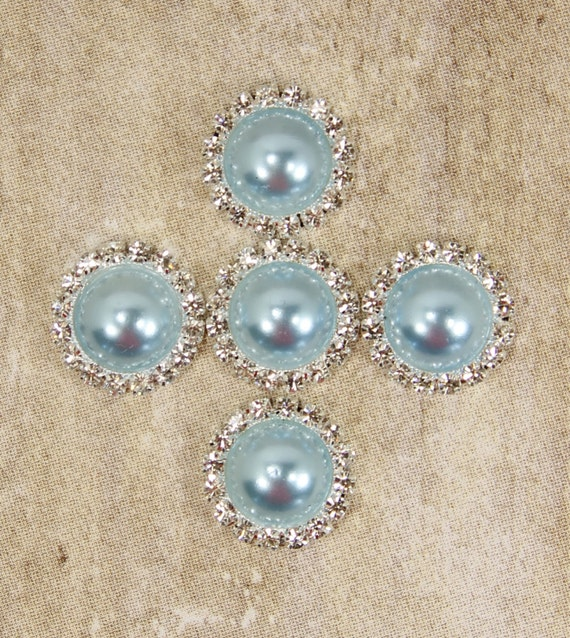 21mm aqua blue pearl rhinestone metal flat back button headband center 5 pcs