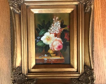 Gold Framed Acrylic Floral Painting