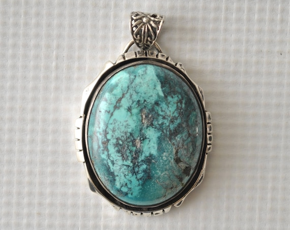 Sterling Silver Turquoise Pendant - Native American Style #9112